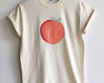 Peach T-Shirt, Food Shirt, Screen Print Shirt, Clothing Gift, Foodie Gift, Gardening Gift