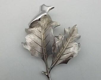 ON SALE Vintage Crown Trifari Brushed Silver Tone Double Leaf Brooch