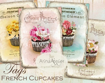 CARDS French CUPCAKES - Digital Collage Sheet - French Patisserie - Shabby Chic Images - Cupcakes Digital Collage - Digital Tags - Sweets