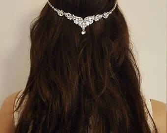 Crystal Wings Drop Bridal Headdress. Wedding Headpiece, Boho Headchain, Bridal Headband, Hair Jewellery.