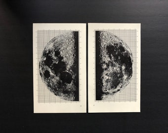 c. 1964 FULL MOON PRINTS - original vintage astronomy prints - lunar phase prints - full moon - lunar landscape - set of 2 prints