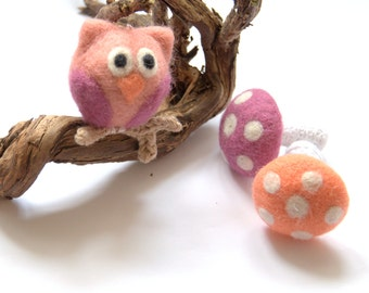 Felted wool owl ornament pink beige grey ornament gift crochet woodland baby girl nursery decor children fun fantasy wool ball