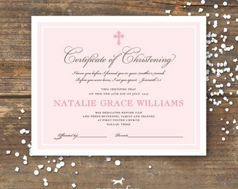 Christening or Baptism Certificate Keepsake Printable - Monogram - Baby Girl