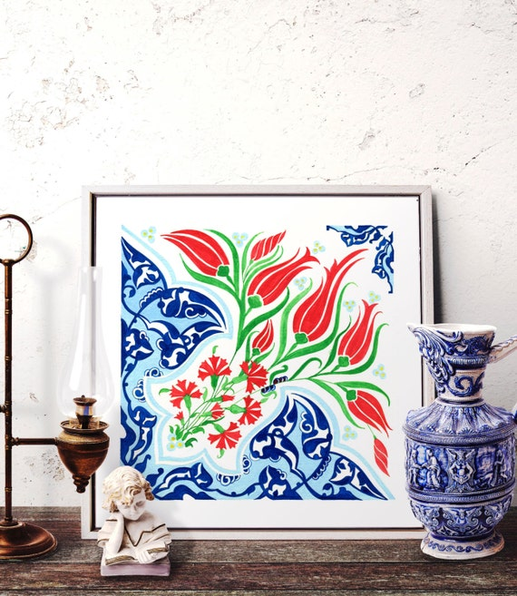 Traditional Ottoman Tulip Watercolor Wall Art Turkish Floral: Tulip Watercolor Painting Wall Art Ottoman Blue And Red