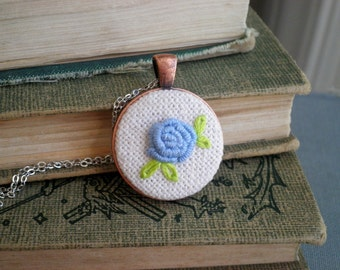 Embroidered Blue Rose Necklace  Cornflower Blue Floral Rosette Embroidery Necklace, French Country Fiber Art Rose Garden Flower Jewelry Gift