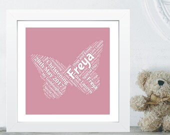Butterfly Word Art Christening Gift - Gift From Godparent to Goddaughter