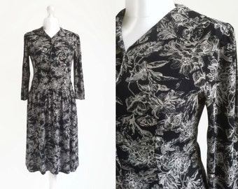 90's Dress | 1990's Black Dress | Vintage Midi Dress | Floral Pattern Print Dress