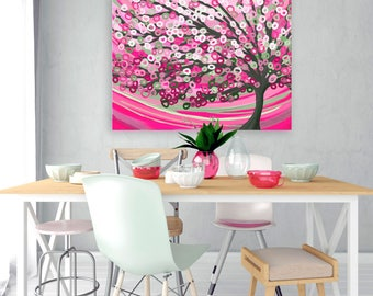 Pink & Sage Green Canvas Picture - Pink Abstract Tree Canvas Print - Warm Pink and Sage Green Abstract Tree Canvas Print by Louise Mead