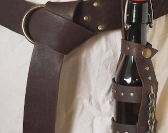 Leather Bottle Carrier, Bottle Holster Full Grain Kodiak Leather, Vintage Style Flip Top Glass Bottle, Steampunk, Cosplay LARP