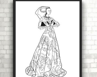 Lady Margaret Peyton, Portraits, Coloring Pages for Adults, PDF, Printable