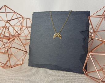 Gold Moon Necklace   24k Gold Plated   925 Sterling Silver   Dainty Geometric Necklace   Gold Chain   Crescent Moon   Openwork Boho Necklace