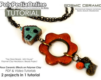 Polymer Clay Tutorial, Polymer Clay Jewelry, Polymer Clay Beads, Necklace Tutorial, PDF Tutorial, Jewelry Tutorial, Ceramic, Video, Fimo