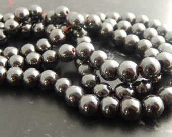 44 beads 10 mm black hematite