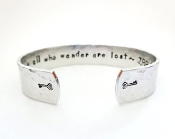 Personalized Secret Message Cuff Bracelet, Not all who wander are lost, Graduation Gift, Hammered Textured, Customizable