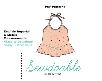 Halter Top PDF Pattern 3/6M- 4Y