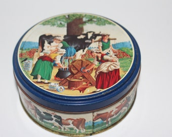 Crabtree & Evelyn Vintage Candy Tin Milk Maids And Cows