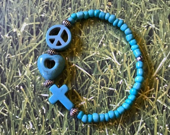Peace, Love & Faith Spiritual Bracelet, Stretch Bracelet, Beaded Turquoise Zen Bracelet
