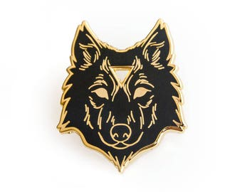 Arcane Wolf Enamel Lapel Pin in Black and Gold