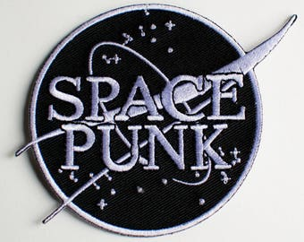 Space Punk Embroidered Patch -BLACK NASA style - Iron on -