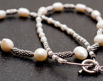 Pearls of Great Price - Elegant Fresh Water Pearls and Balinese Silver Necklace