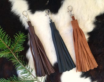 Leather Tassel Purse Add-on // Brown Black Acorn // Rosebud Originals