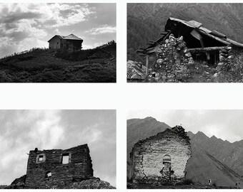 Black and White photo set. 4 photos. Old houses.