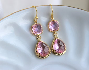 Gold Light Pink Earrings Blush Pink Jewelry Two Tier Teardrop - Blush Bridesmaid Earrings Pink Wedding Jewelry - Bridal Accessories