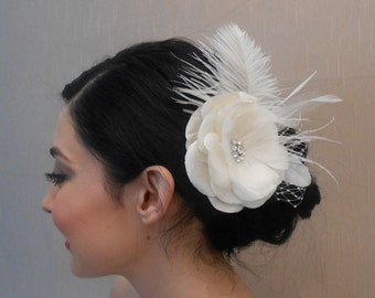 Ivory Bridal Silk Dupioni Flower with Feathers, French Net, and Rhinestone Center - Ready to ship