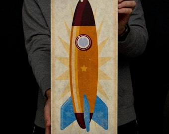 "Boys Room Decor, Space Art, Rocket Art Block, 8""x18"", Kids Wall Art, Boy Nursery Decor, Rocket Nursery, Rocketship Print, Art for Kids Room"