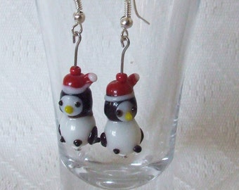 Handmade Christmas Penguin Lampwork Glass Earrings (Nickel-Free)