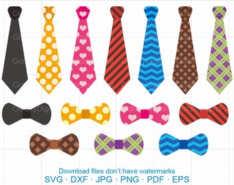 Ties and Bows Clipart SVG,  DXF Silhouette Cricut Cut Files Commercial use