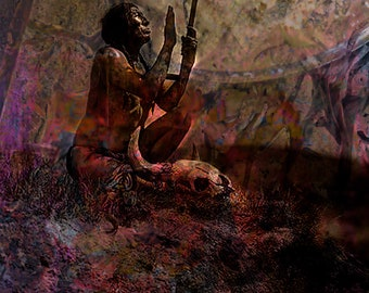 Fine Art Print  of 'Prayer Blessing'. Apache Shaman, Native American Indian. American West, rituals, prayers, wall decor, JoWalshArt