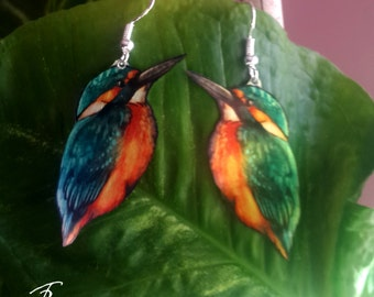 Kingfisher Bird Realistic Animal Wildlife Nature Turquoise Orange Metal Earrings