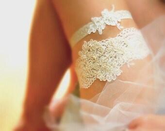 Lace Garter Set, Ivory Lace Garter, Wedding Garter Set, Alencon Lace Garter, Beaded Lace Garter