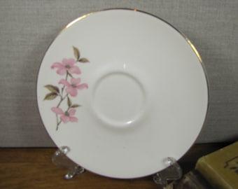 Vintage Saucer - Pink Dogwoods - Gold Accent