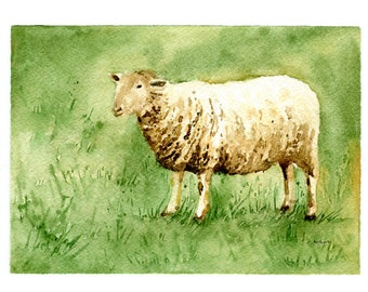Original 5 x 7 Watercolor Painting of a Sheep at Daybreak