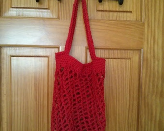 Crocheted Market Bag in Red