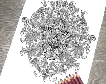 """Printable Coloring Page JPG - Adult Colouring Page, Instant Download only, Art Printable illustrations - """"Magic Totem"""" - Lion"""
