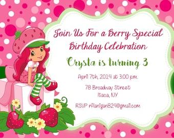 Strawberry shortcake invitation etsy girls strawberry shortcake printable birthday party invitation digital image filmwisefo Images