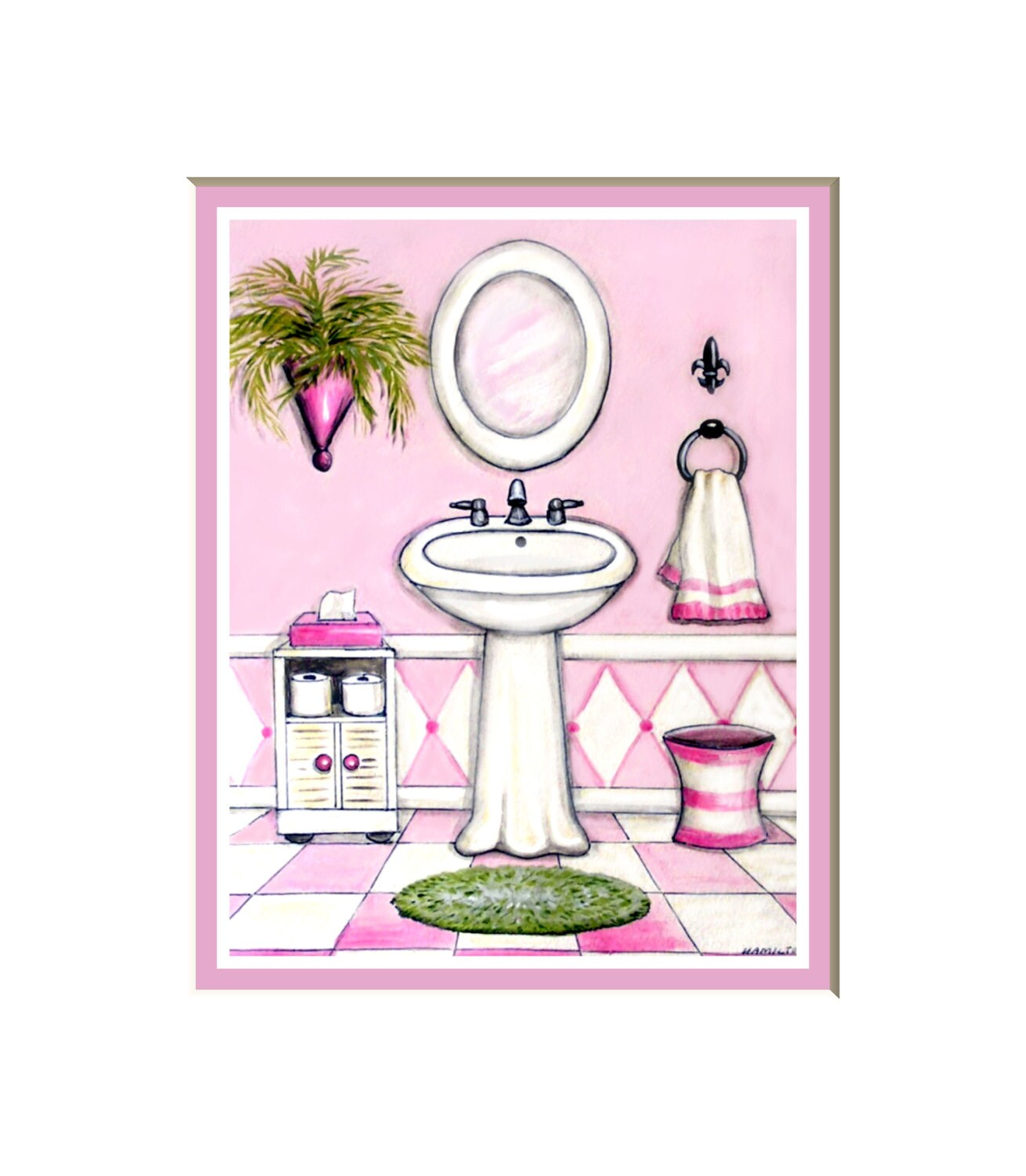 Pink and White Bath art print bath decor for girls feminine