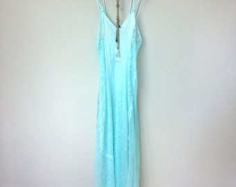 Pretty Light Blue Vintage Nylon Slip Dress with Double Spaghetti Straps, Sheer Lace Panels on Sides, Boudoir, Boho, Great Gatsby. Art Deco