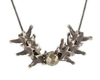 Sterling Silver Vertebrate Spine Necklace with Pyrite