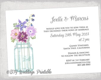 "Wedding invitation template ""Mason Jar"" printable invitations -DIY Mason Jar invitation templates -purple & pink - Instant Download"