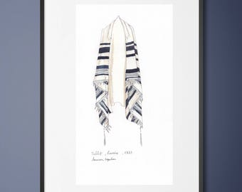 Original watercolor - Talit painting -Jewish painting-Tallit