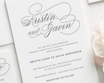 Script Elegance Letterpress Wedding Invitations - Sample