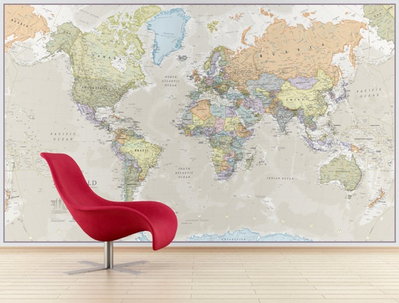 Giant world map mural classic home decor living room giant world map mural classic home decor living room bedroom world map wall decal wall art vintage map world map wallpaper sciox Gallery