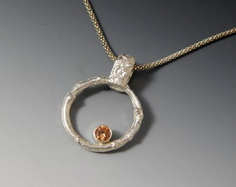 Sale Organic Sterling Silver Branch and CZ Necklace In Stock