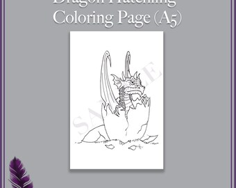 Dragon Hatchling Coloring Page - Printable A5 PDF