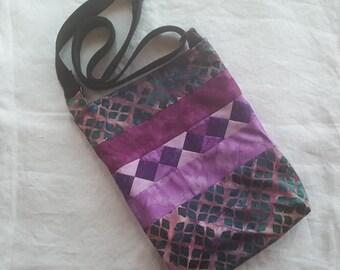 Patchwork Crossbody Bag - Purples/Teal and Purple Batik