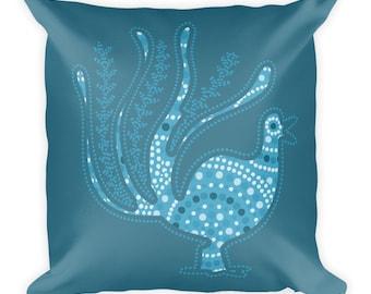 Square teal pillow, Bird pillow, Bird of Paradise Pillow, Square blue pillow, Teal throw pillow, Blue throw pillow